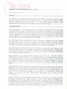 Ministerial Resolution 425/19 regarding the SALARY INCREASE