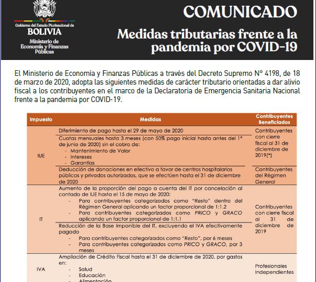 COMUNICADO FRENTE AL COVID19